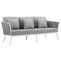 Sylvie Modern Gray + White Outdoor Sofa