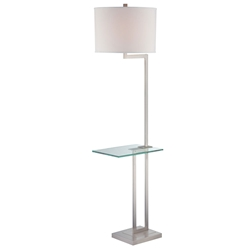 TKO Modern Polished Steel Floor Lamp + Glass Side Table