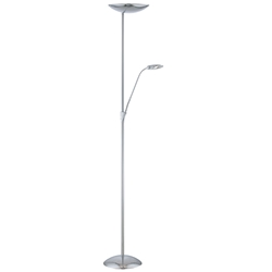 Taavi Polished Steel LED Modern Torchiere + Reading Floor Lamp
