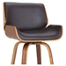 Tacoma Modern Stool - Brown Faux Leather + Walnut