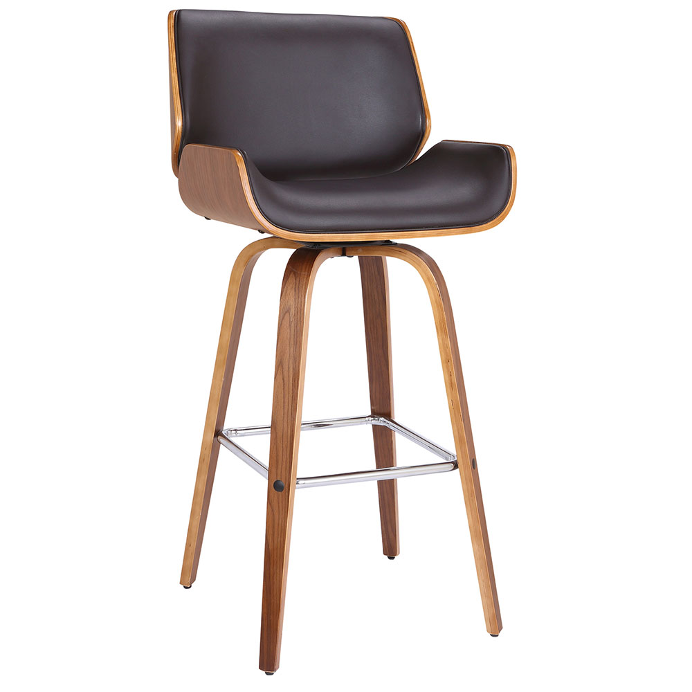Tacoma Modern Walnut + Brown Faux Leather Counter Stool