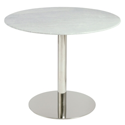 Talca Gray Marble + Polished Stainless Steel Round Modern Dining Table