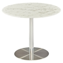 Talca White Marble + Polished Stainless Steel Round Modern Dining Table