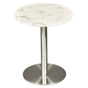 Talca White Marble + Brushed Stainless Steel Modern Dining Table
