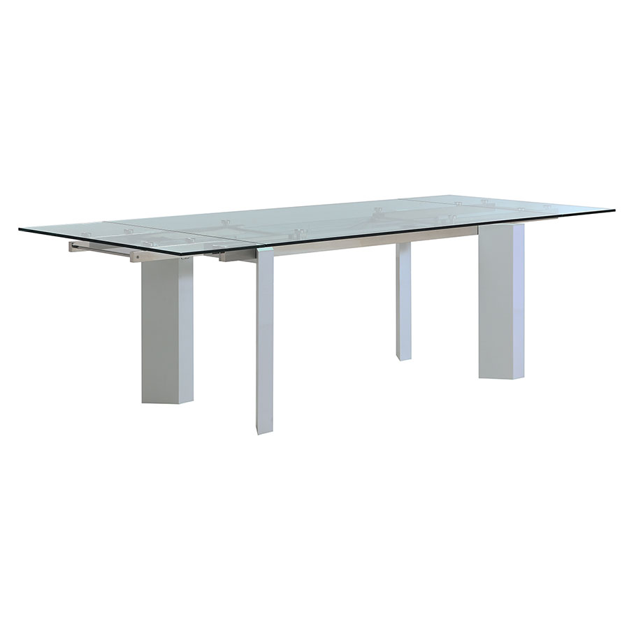 Talco White Lacquer + Clear Glass Modern Extension Dining Table