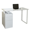 Talia White Metal + Wood Modern Desk with Podium File