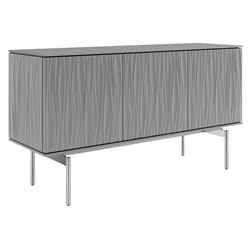 BDI Tanami Gray Modern 3 Door Credenza with Chrome Base and Gray Glass Top
