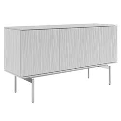 BDI Tanami White Modern 3 Door Credenza with Chrome Base and Gray Glass Top