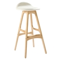 Tangent Modern Bar Stool - American Ash + Cream Leather