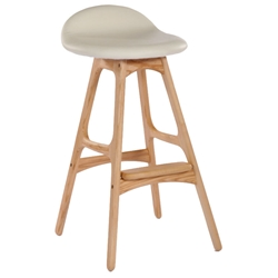 Tangent Modern Counter Stool - American Ash + Cream Leather