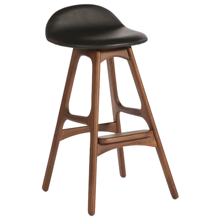 Tangent Modern Counter Stool - American Walnut + Black Leather