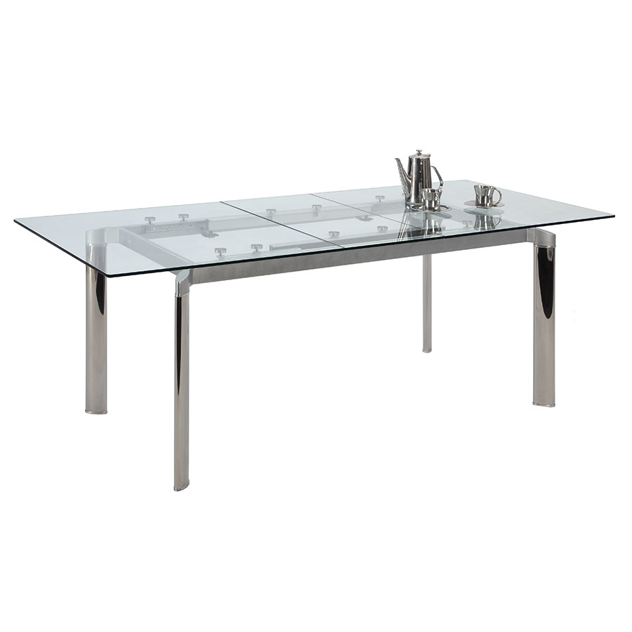 White modern dining table - Tara Modern Clear Extension Dining Table