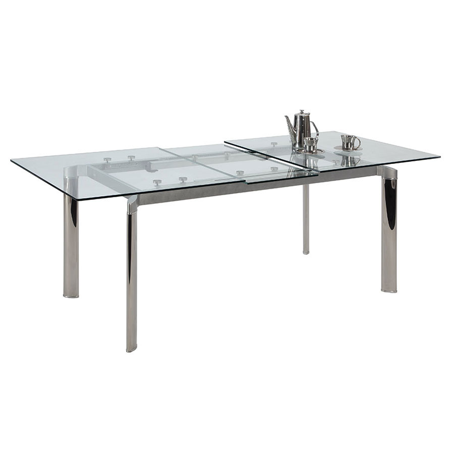 tara clear modern extension dining table  eurway - tara modern clear extension dining table · tara modern clear glassextension table