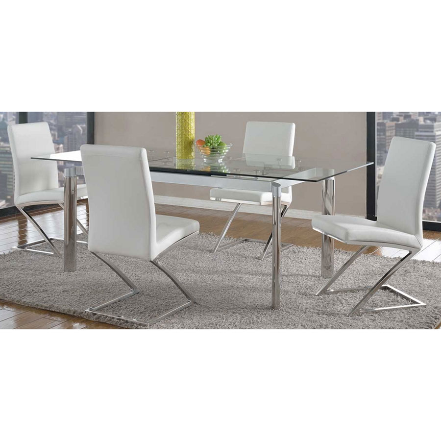 Nice Clear Kitchen Table Part - 7: ... Tara Contemporary Clear Glass Extension Table ...