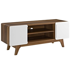Taylor 47 in. Modern Walnut + White TV Stand