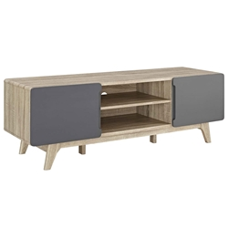 Taylor 59 in. Modern Natural + Gray TV Stand