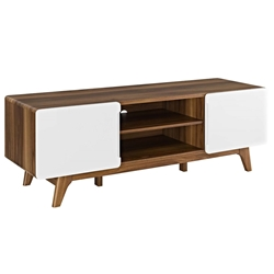 Taylor 59 in. Modern Walnut + White TV Stand