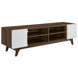 Taylor 71 in. Modern Walnut + White TV Stand