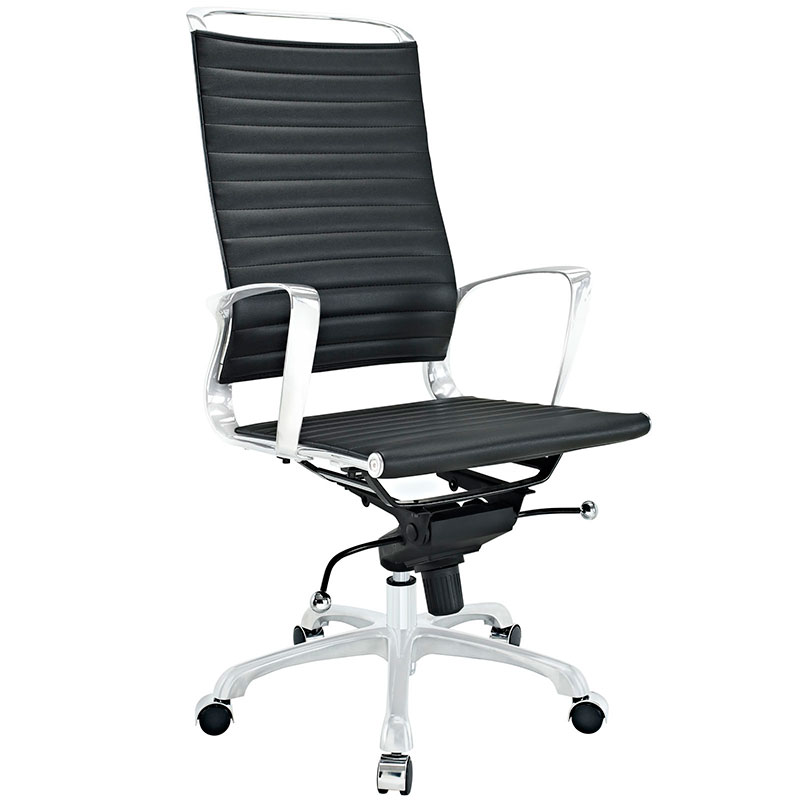 Techno Black Faux Leather High Back Modern Office Chair