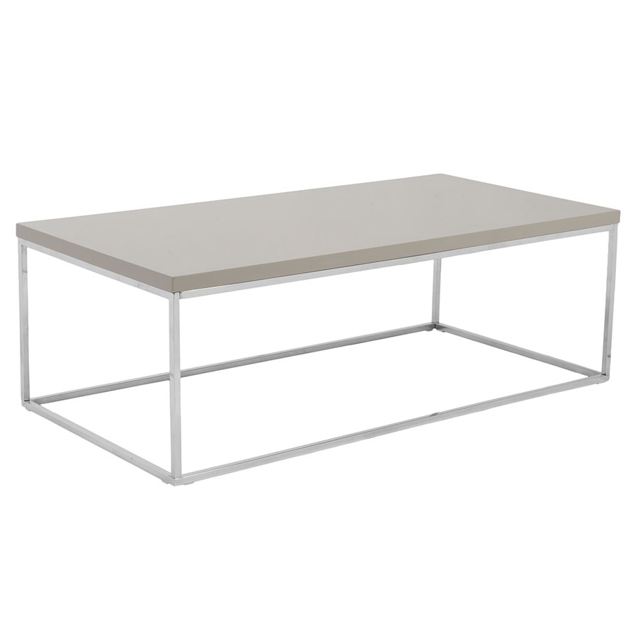 Ted Modern Taupe + Chrome Cocktail Table