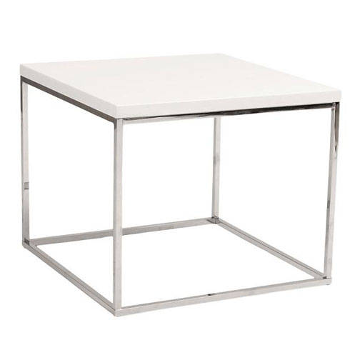 White High Gloss Side End Square 2 Seats Of Coffee Table: Ted Modern White + Chrome End Table