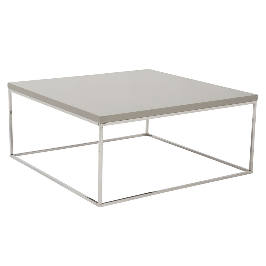 White High Gloss Side End Square 2 Seats Of Coffee Table: Ted Taupe Square Coffee Table