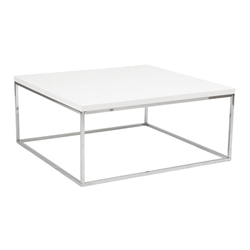 Teresa Square White + Chrome Coffee Table