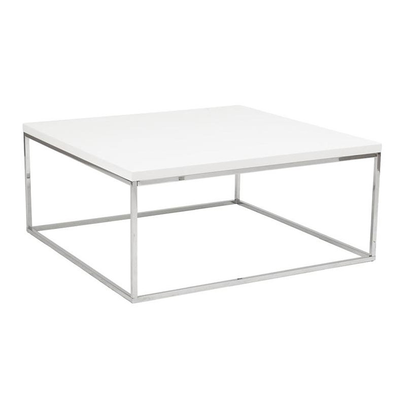 White High Gloss Side End Square 2 Seats Of Coffee Table: Ted White Square Coffee Table
