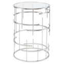 Tiffany Polished Steel + Round Glass Modern End Table