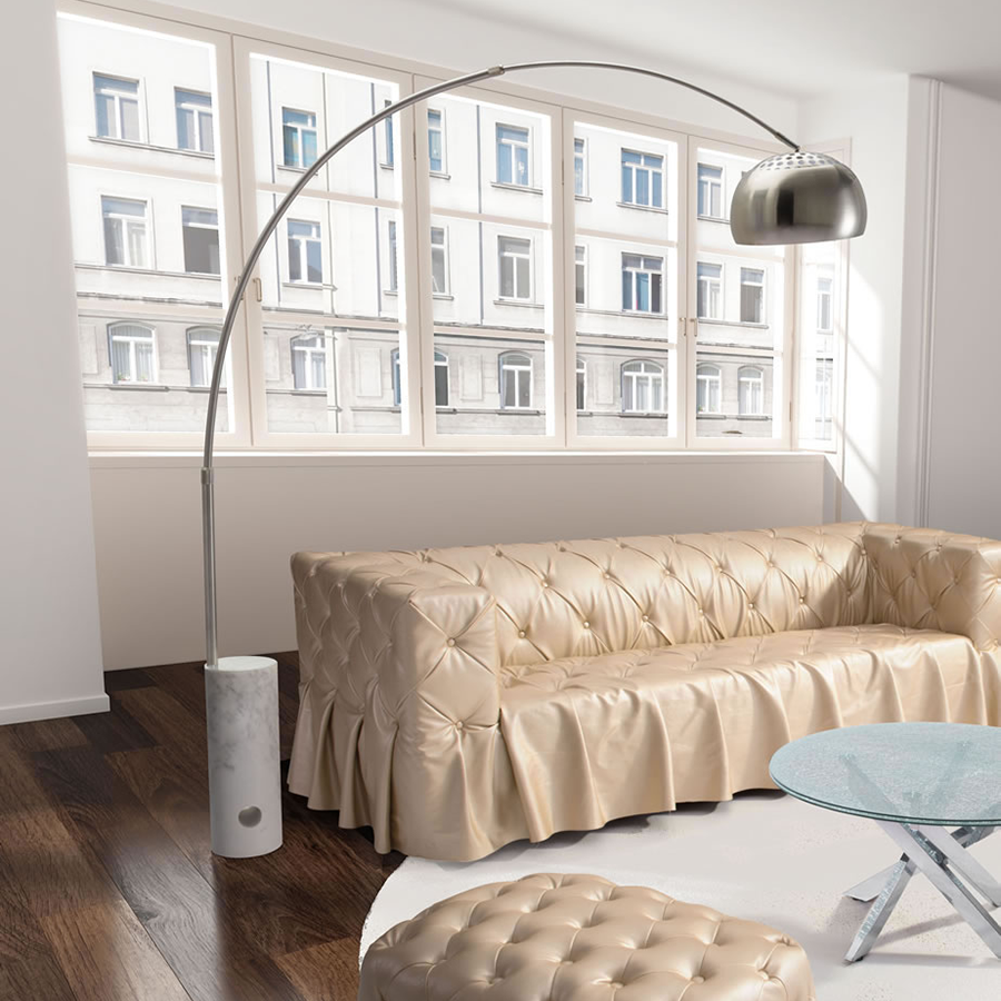Terenti Marble + Metal Modern Floor Arc Lamp