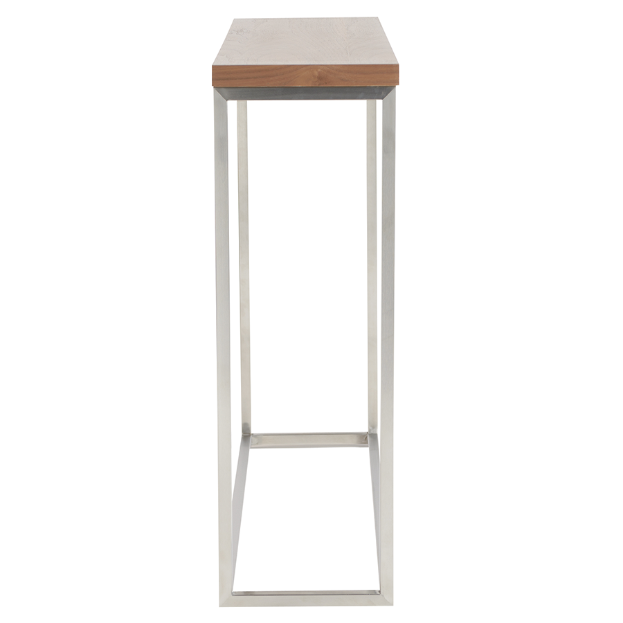 teresa brushed steel walnut modern console table - Modern Console Tables