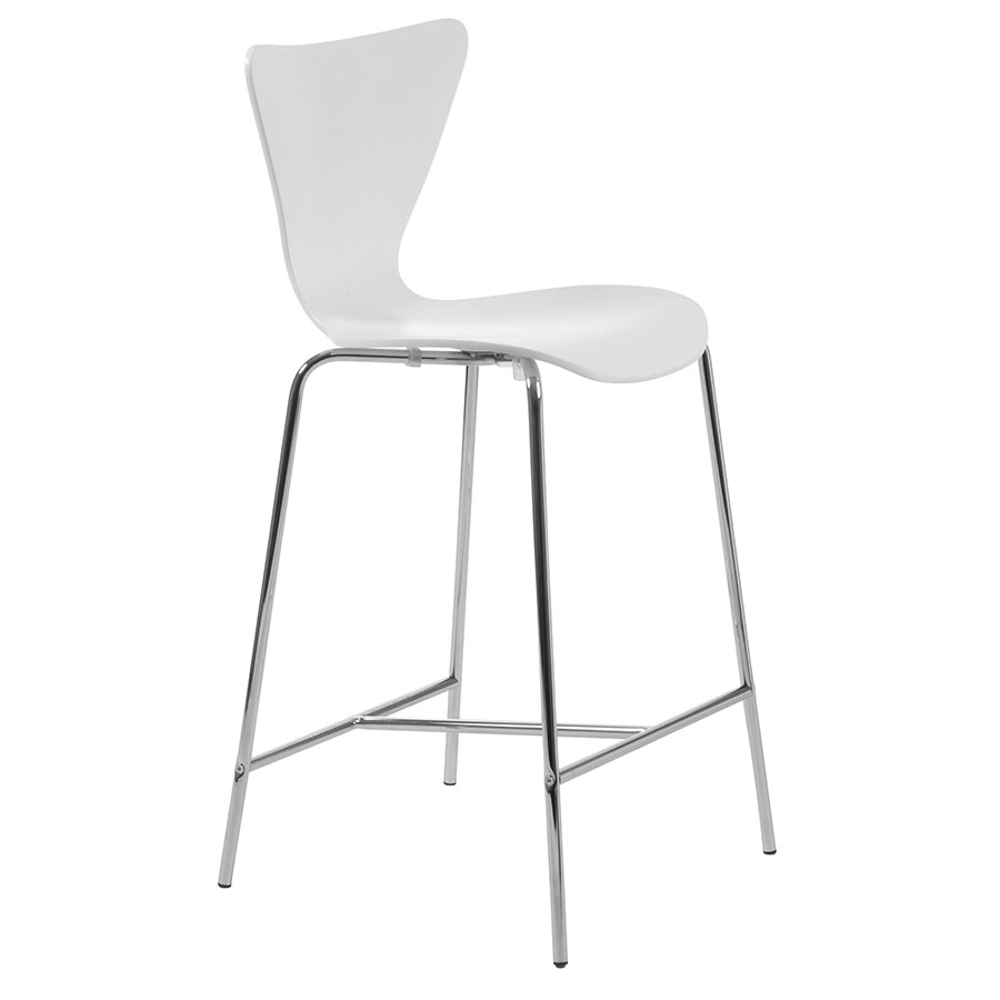 Terrell Modern White Counter Stool
