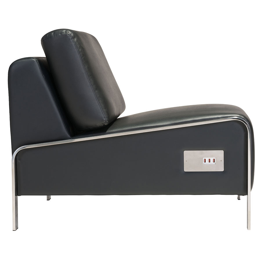 ... Terzo Black Faux Leather + Chromed Steel Modern Armless Lounge Chair  With USB ...