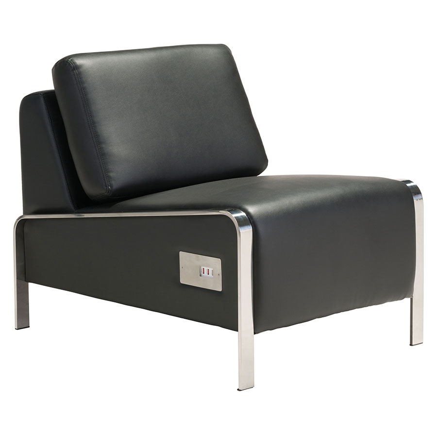 Superior Terzo Black Faux Leather + Chromed Steel Modern Armless Lounge Chair With  USB Charging Station