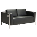 Terzo Black Faux Leather + Chromed Steel Modern Loveseat With USB Ports