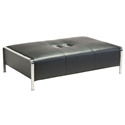 Terzo Black Faux Leather + Chromed Steel Modern Ottoman With USB Ports