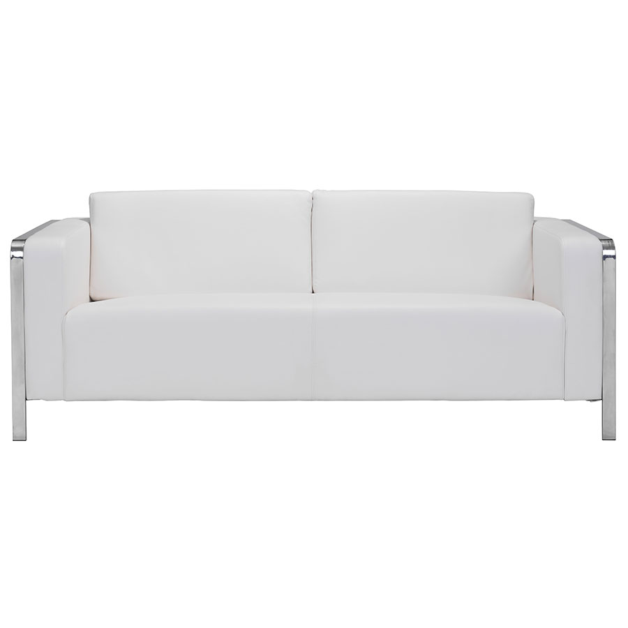 Enfield Modern White Leather Sofa: Terzo White Modern Sofa
