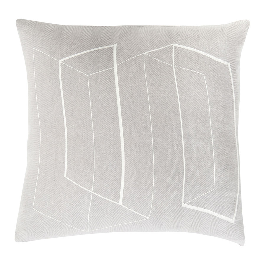 "Tess 22"" Gray Modern Pillow"