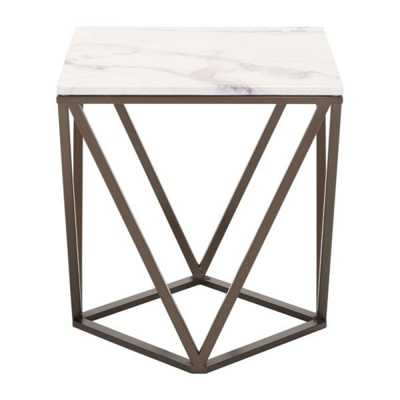 Beau ... Tessellation Brass Metal + White Faux Marble Top Contemporary End Table  ...