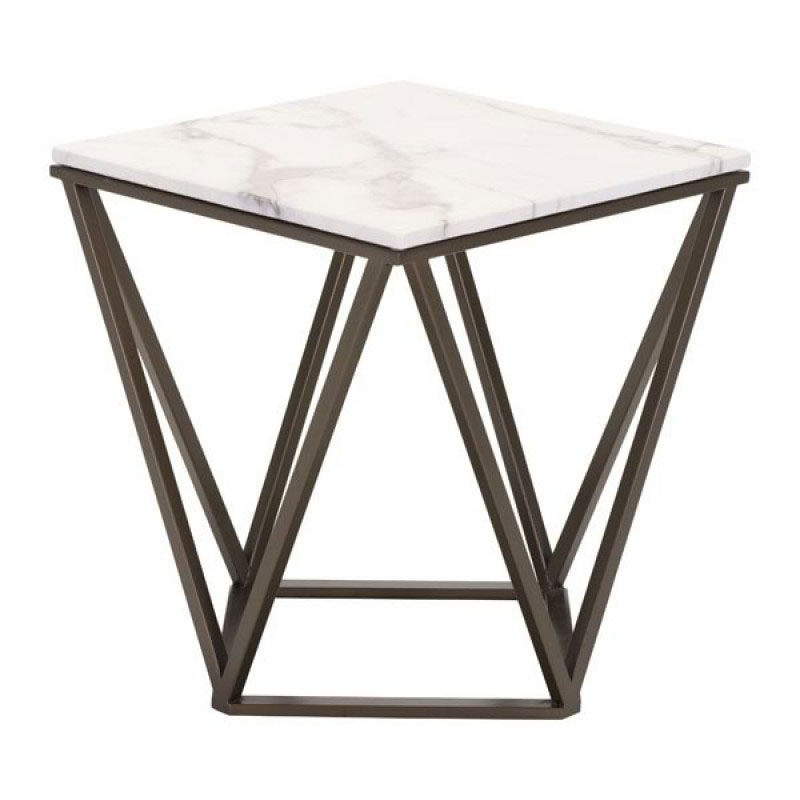 ... Tessellation Brass Metal + White Faux Marble Top Modern End Table ...