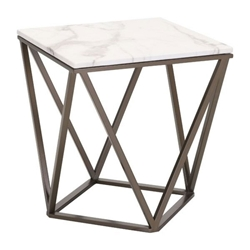 Tessellation Brass Metal + White Faux Marble Top Modern Side Table
