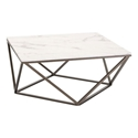 Tessellation Brass Metal + White Faux Marble Top Modern Coffee Table