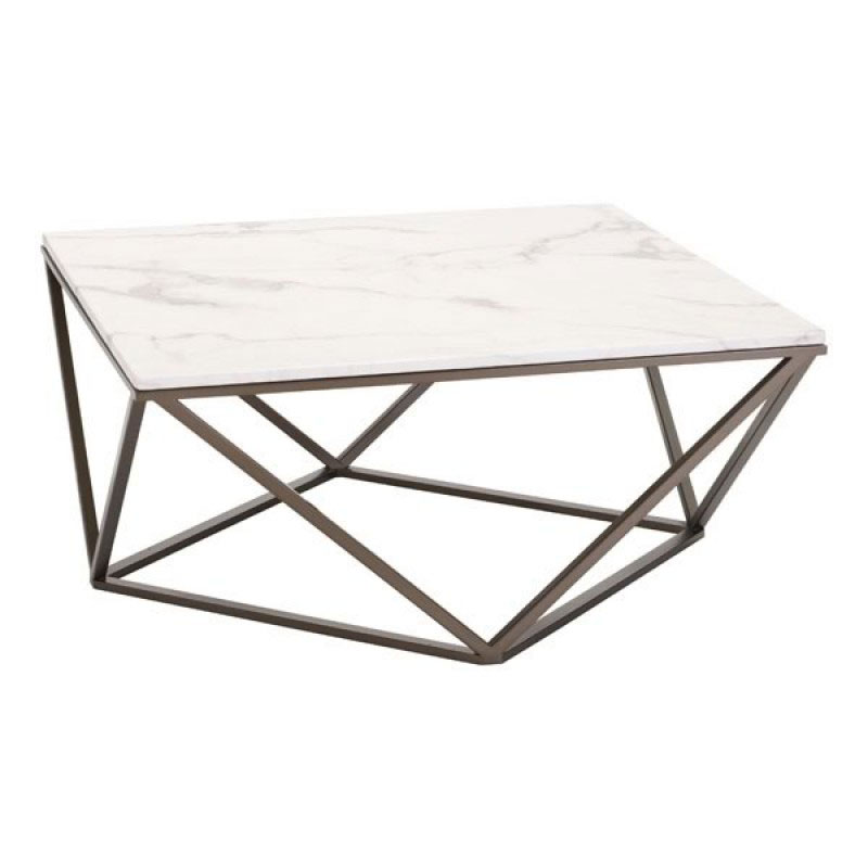 Call To Order · Tessellation Brass Metal + White Faux Marble Top Modern Coffee  Table
