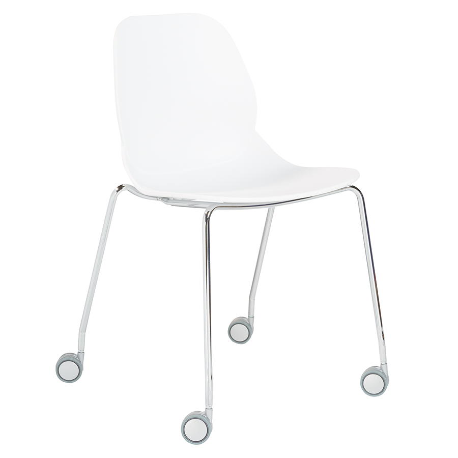 White Rolling Chair Modern Guest Chairs Teven White Visitor Chair Eurway