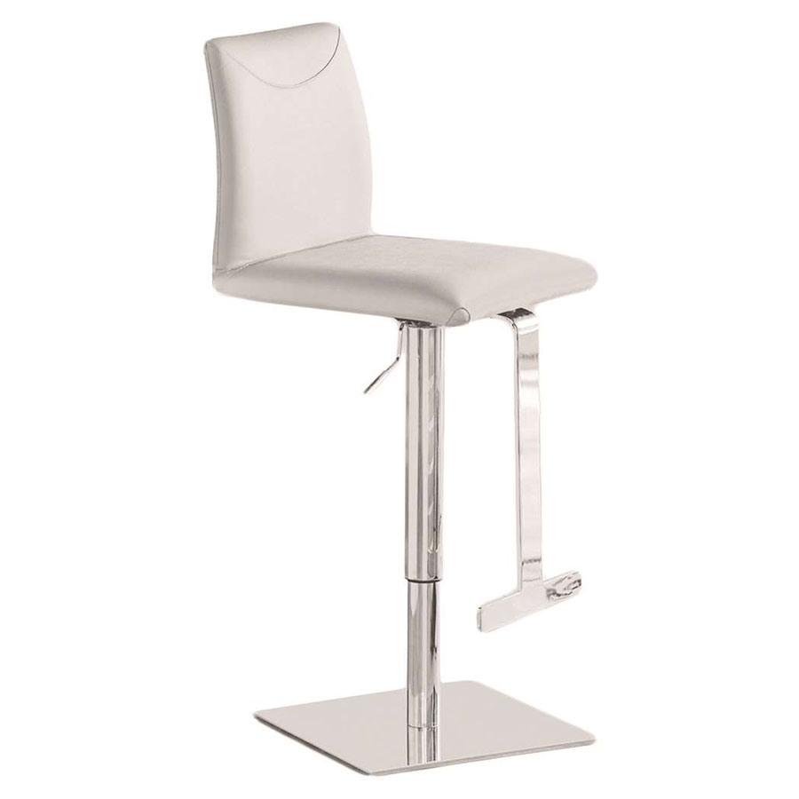 Ticonderoga Genuine Italian Leather + Chrome Modern Adjustable Height Stool