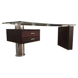Tierney Modern Glass Desk in Ebony