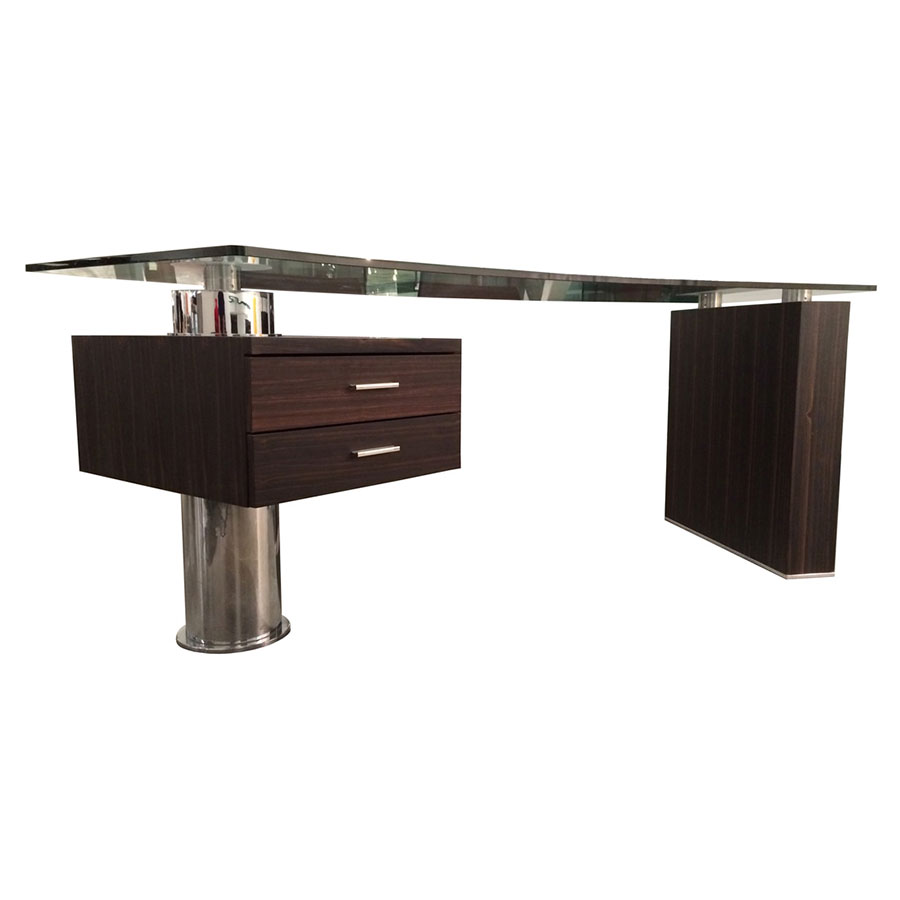 Call To Order Tierney Modern Glass Desk In Ebony