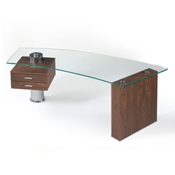 Tierney Glass Top Desk with Walnut Wood