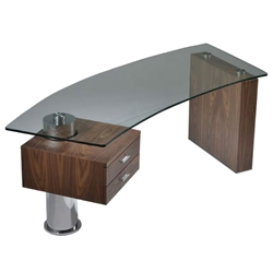 Tierney Modern Glass Desk in Walnut