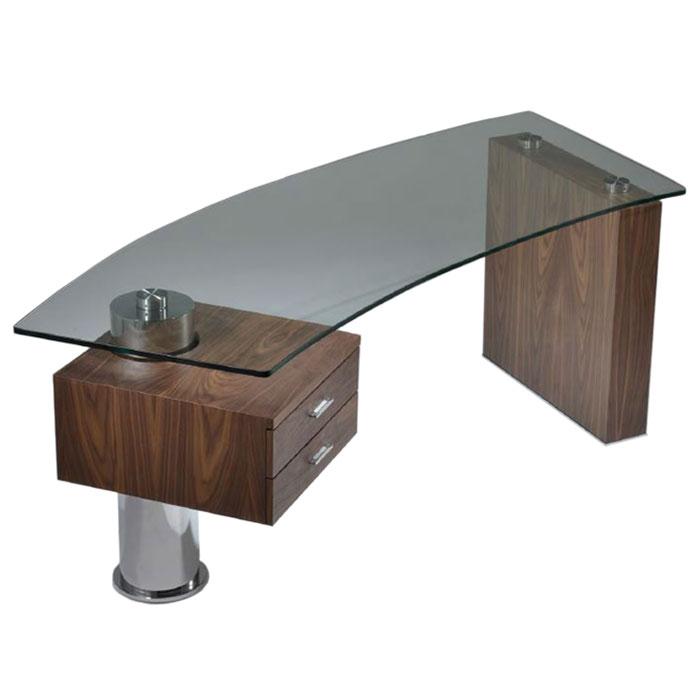 Call To Order Tierney Modern Glass Desk In Walnut